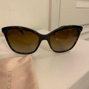 Bvlgari Sunglasses Brown/gold Polarized Cateye